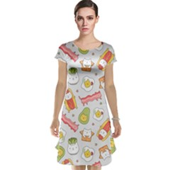 Funny Cat Food Succulent Pattern  Cap Sleeve Nightdress