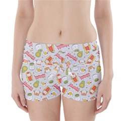 Funny Cat Food Succulent Pattern  Boyleg Bikini Wrap Bottoms