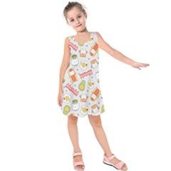 Funny Cat Food Succulent Pattern  Kids  Sleeveless Dress