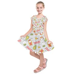 Funny Cat Food Succulent Pattern  Kids  Short Sleeve Dress