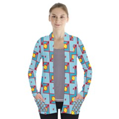 Shapes In Squares Pattern                         Women s Open Front Pockets Cardigan