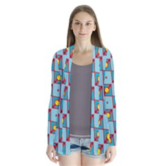 Shapes In Squares Pattern                         Drape Collar Cardigan