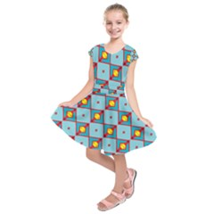 Shapes in squares pattern            Kids  Short Sleeve Dress