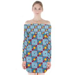 Shapes in squares pattern               Long Sleeve Off Shoulder Dress