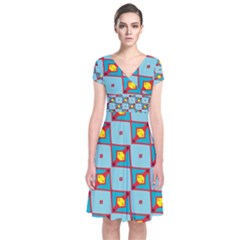 Shapes In Squares Pattern                                                                           Short Sleeve Front Wrap Dress