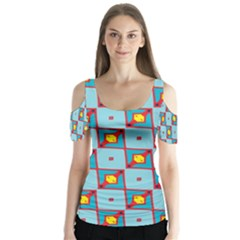 Shapes In Squares Pattern                                             Butterfly Sleeve Cutout Tee
