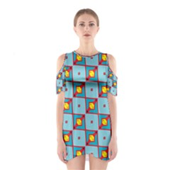 Shapes In Squares Pattern                                                                                                            Women s Cutout Shoulder Dress