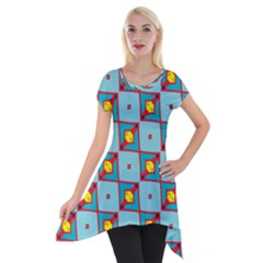 Shapes In Squares Pattern                                                                                                            Short Sleeve Side Drop Tunic