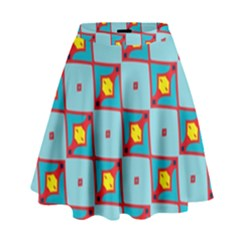 Shapes In Squares Pattern                                                                                                              High Waist Skirt
