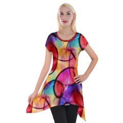 Color Ecstasy Short Sleeve Side Drop Tunic