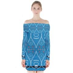 Ornamental Shapes                Long Sleeve Off Shoulder Dress