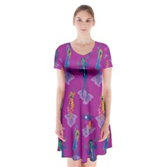 Zombie Pattern Short Sleeve V Neck Flare Dress