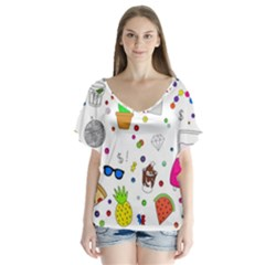 Animals Fruite Cake Lip Pattern Flutter Sleeve Top