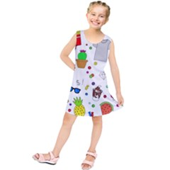 Animals Fruite Cake Lip Pattern Kids  Tunic Dress
