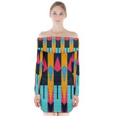 Shapes and stripes                Long Sleeve Off Shoulder Dress