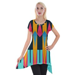 Shapes And Stripes                                                                                                             Short Sleeve Side Drop Tunic