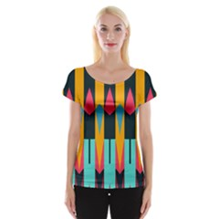 Shapes And Stripes                                                                                                             Women s Cap Sleeve Top