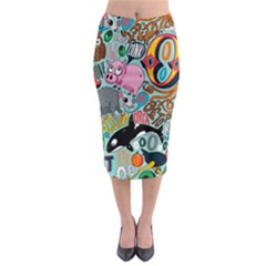 Alphabet Patterns Midi Pencil Skirt