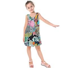 Alphabet Patterns Kids  Sleeveless Dress