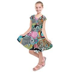 Alphabet Patterns Kids  Short Sleeve Dress