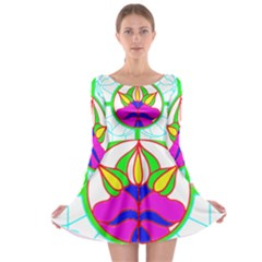 Pattern, Template, Stained Glass Long Sleeve Skater Dress