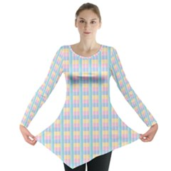 Grid Squares Texture Pattern Long Sleeve Tunic
