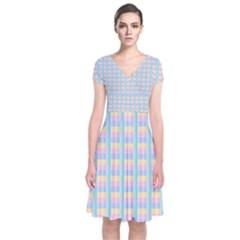 Grid Squares Texture Pattern Short Sleeve Front Wrap Dress