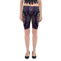 Fractal Sparkling Purple Abstract  Yoga Cropped Leggings