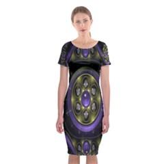 Fractal Sparkling Purple Abstract  Classic Short Sleeve Midi Dress