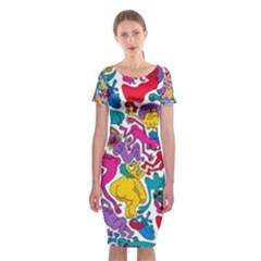 Animation Animated Cartoon Pattern Classic Short Sleeve Midi Dress
