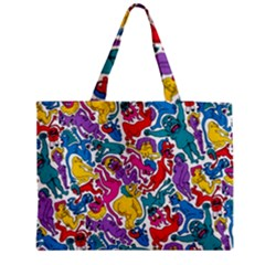 Animation Animated Cartoon Pattern Medium Zipper Tote Bag