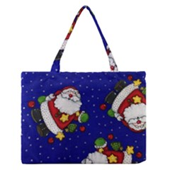 Blue Santas Clause Medium Zipper Tote Bag