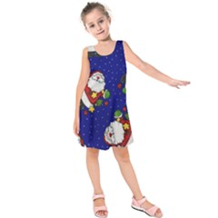 Blue Santas Clause Kids  Sleeveless Dress