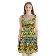 C Pattern Split Back Mini Dress