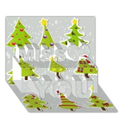 Christmas Elements Stickers Miss You 3D Greeting Card (7x5)