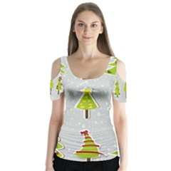 Christmas Elements Stickers Butterfly Sleeve Cutout Tee