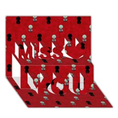 Cute Zombie Pattern Miss You 3d Greeting Card (7x5)