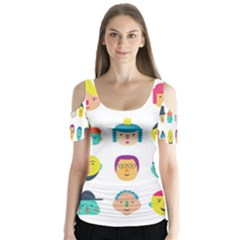 Face People Man Girl Male Female Young Old Kit Butterfly Sleeve Cutout Tee