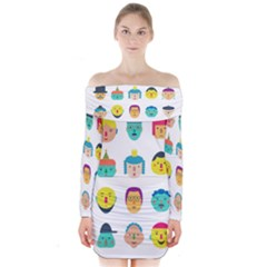 Face People Man Girl Male Female Young Old Kit Long Sleeve Off Shoulder Dress