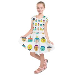 Face People Man Girl Male Female Young Old Kit Kids  Short Sleeve Dress