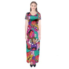 Face Short Sleeve Maxi Dress