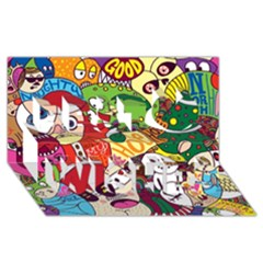 Face Mask Cartoons Stash Holiday Best Wish 3d Greeting Card (8x4)