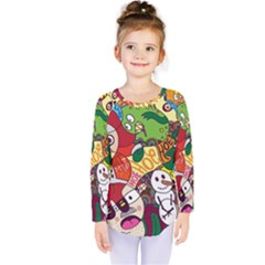 Face Mask Cartoons Stash Holiday Kids  Long Sleeve Tee