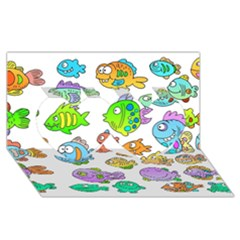 Fishes Col Fishing Fish Twin Hearts 3D Greeting Card (8x4)