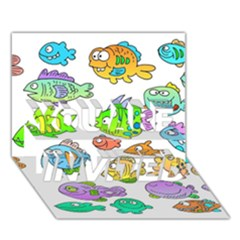 Fishes Col Fishing Fish YOU ARE INVITED 3D Greeting Card (7x5)
