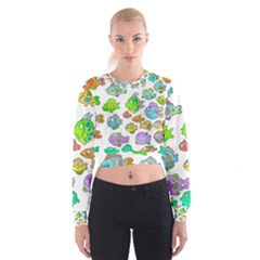 Fishes Col Fishing Fish Women s Cropped Sweatshirt