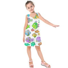 Fishes Col Fishing Fish Kids  Sleeveless Dress