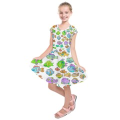 Fishes Col Fishing Fish Kids  Short Sleeve Dress