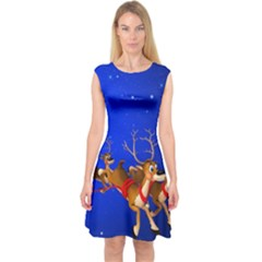 Holidays Christmas Deer Santa Claus Horns Capsleeve Midi Dress