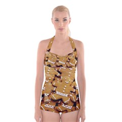 Gingerbread Men Boyleg Halter Swimsuit